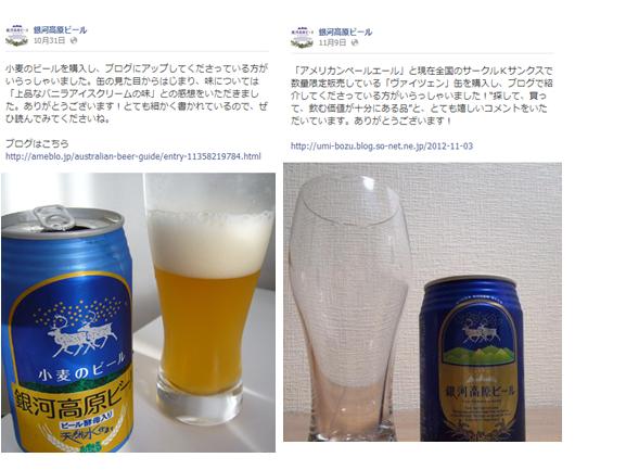 銀河高原ビール投稿事例